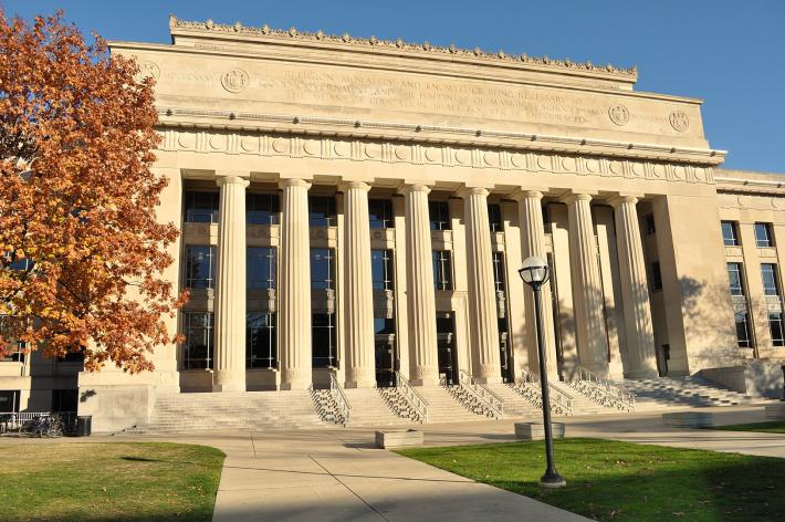 Angell Hall at the University of Michigan, a white neoclassical building with many columns