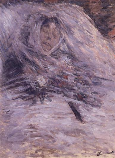 Monet painting of a his wife on her death bed