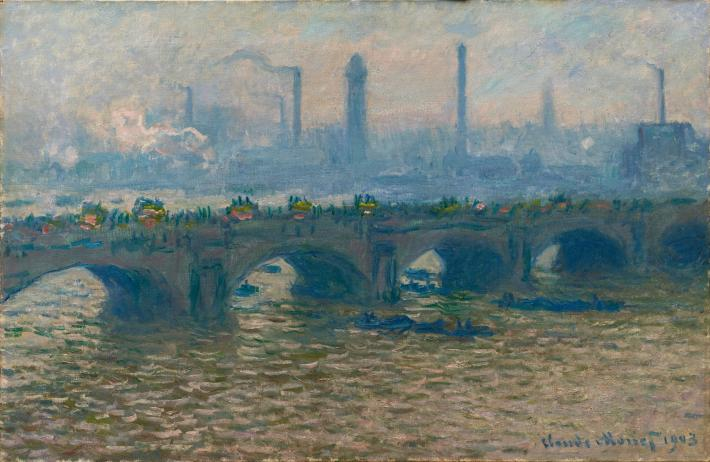 Monet impressionist painting of an arched bridged over a river with factory smokestacks in the background