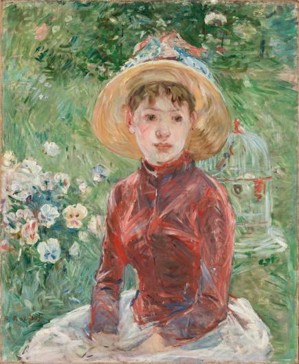 Berthe Morisot portrait of a young woman in a hat