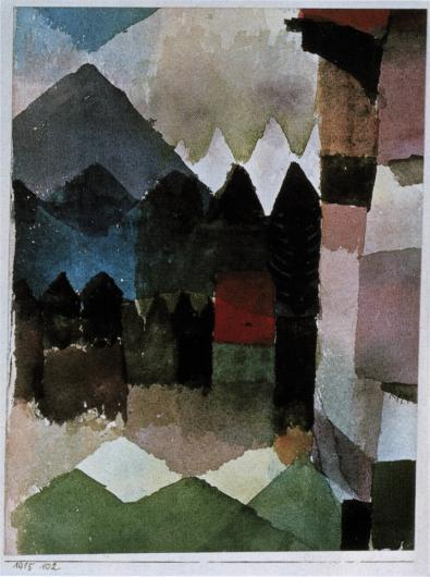 Paul Klee cubist landscape painting in muted colors