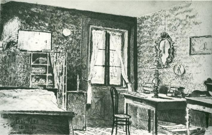 Paul Klee black and white drawing of the interior of a room