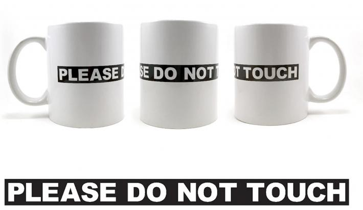"Three mugs showing ""please do not touch"""