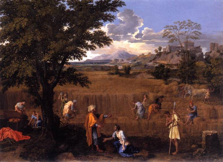 Poussin landscape painting of many people at a wheat harvest