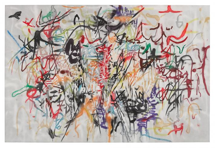 Julie Mehretu multi-colored abstract print
