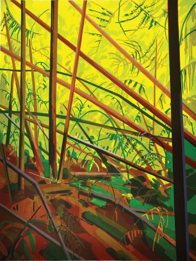 Claire Sherman print of sticks on the ground in bright colors