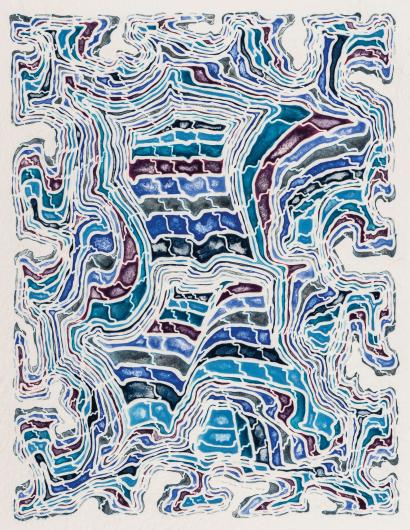 James Siena geometric print in shades of blue