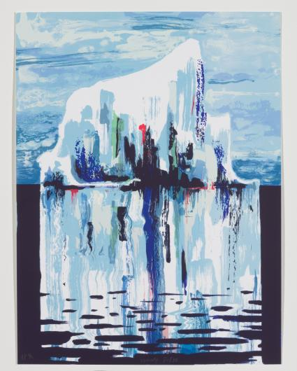 Tomory Dodge screenprint of an iceberg and its reflection in the water