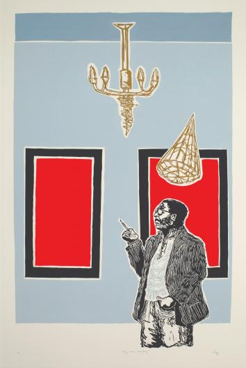 Senzo Shebango print of a man in a jacket in front of two red framed panels