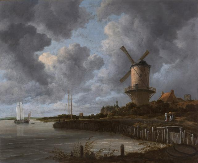 Jacob van Ruisdael painting of a windmill beside a bay in front of a cloudy sky