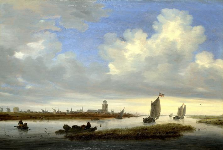 Salomon van Ruisdael painting of ships in a bay with a large blue sky with clouds above it