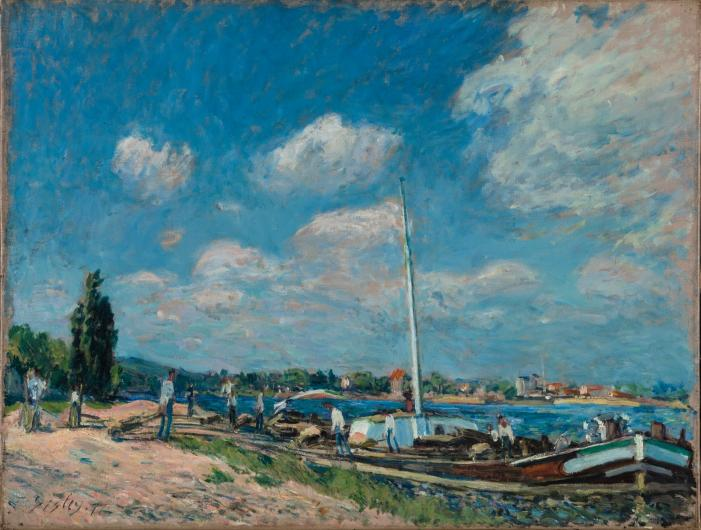 Sisley impressionist painting of a seaside marina with boats and clouds