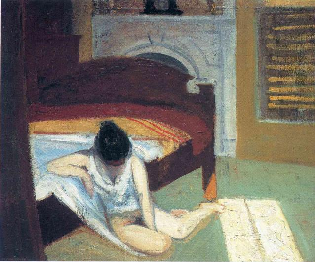 Hopper painting of a female figure, nude from the waist down, seated beside a bed