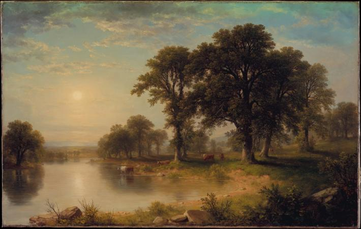 Asher Durand painting of cattle at a pond on a hazy summer day