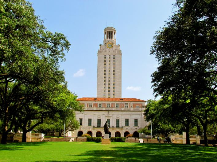 University of Texas Austin main quad with tower