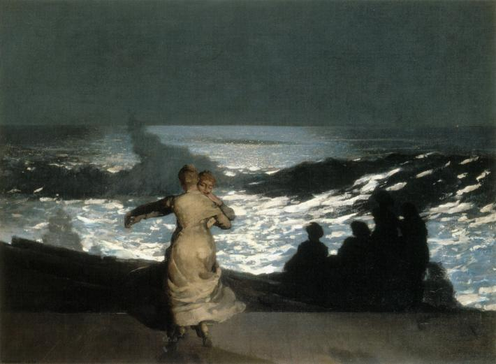 Winslow Homer painting of two women dancing in the moonlight in front of a seascape