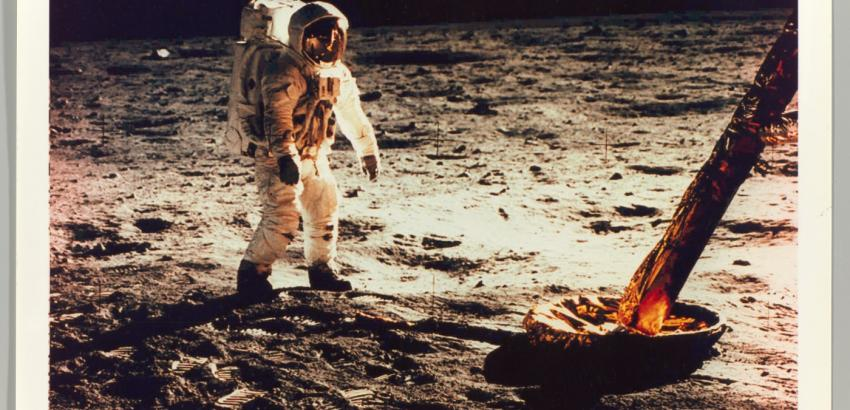 Neil Armstrong, Buzz Aldrin Walking on the Surface of the Moon Near a Leg of the Lunar Module, 1969