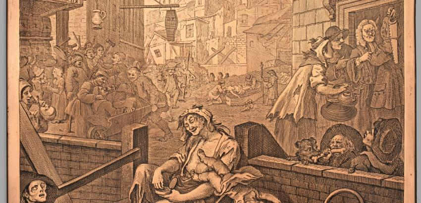 William Hogarth (1697–1764), Gin Lane, 1751, copper plate (etched and engraved)