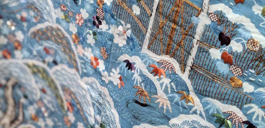 Japanese Applique Art Fabric And Paint Geisha Girl