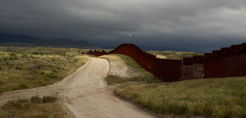 Richard Misrach (American, b. 1949), Wall, East of Nogales, Arizona, 2014, printed 2016. Pigment print. Harvard Art Museums/Fogg Museum, Margaret Fisher Fund, 2018.111.