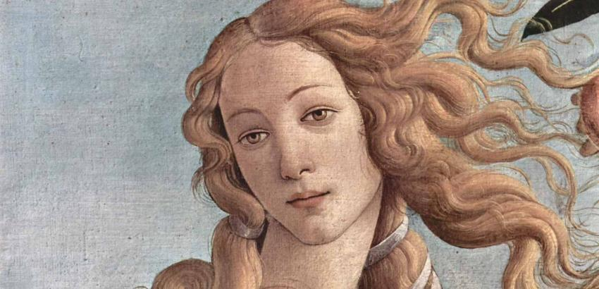 Sandro Boticelli painting of a woman with flowing blonde hair