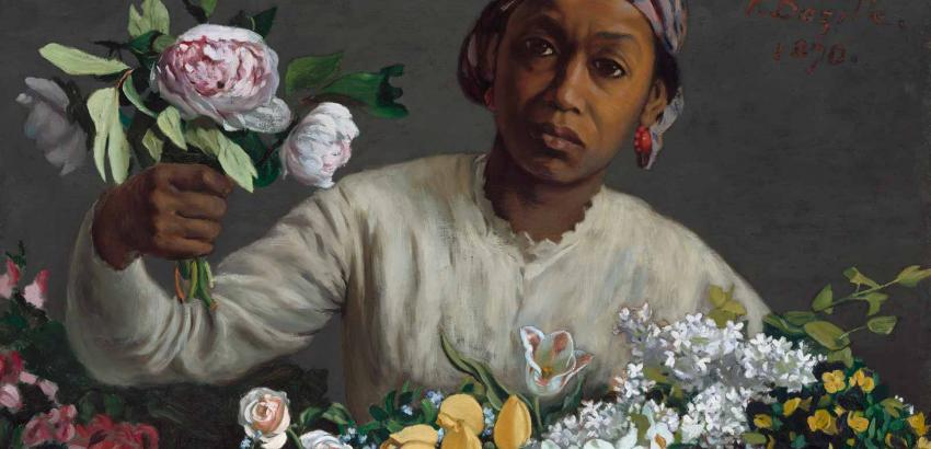 Frederic Bazille (1841-1870), Woman with peonies, 1870. Originally titled Negress with Peonies