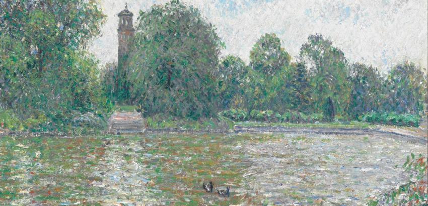 Camille Pissarro (French, 1830–1903), Pièce d'eau à Kew, Londres (Ornamental Lake at Kew [Gardens], London), 1892