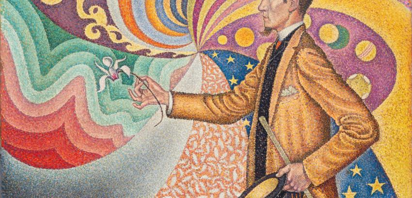 Paul Signac. Opus 217. Against the Enamel of a Background Rhythmic with Beats and Angles, Tones, and Tints, Portrait of M. Félix Fénéon in 1890.