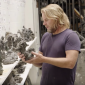 Dylan Lewis shows a small sculpture in his studio